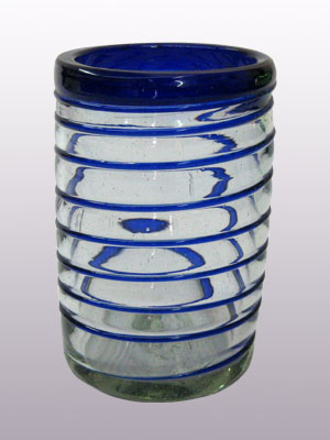 COLORED RIM GLASSWARE / 'Cobalt Blue Spiral' drinking glasses (set of 6)
